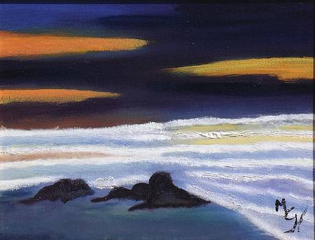 Evening Sunset on Beach by Margaret Harmon