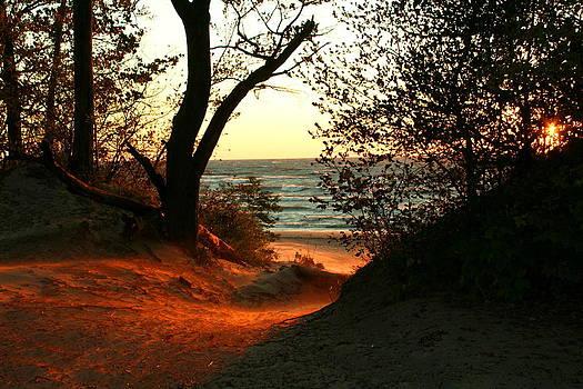 Fall Sunset at Bennett Beach by Beverly Kobee