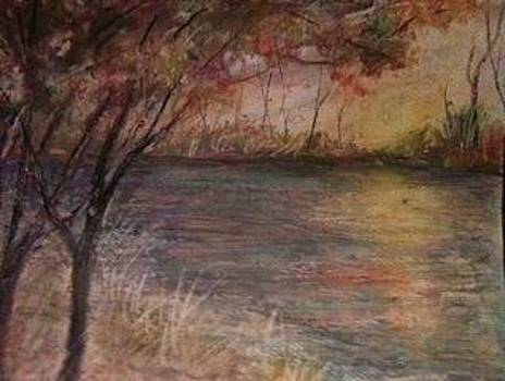 Fall Sunset in Oil Pastels by Joseph Baker