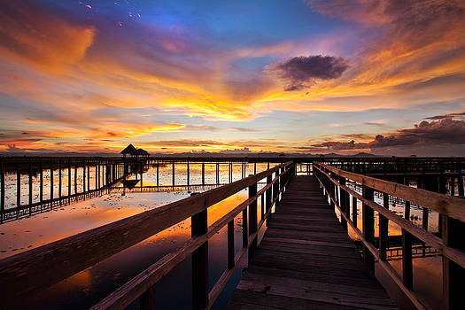Fantastic Sky on Wood Bridge by Arthit Somsakul