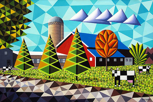 Farm With Three Pines And Cows by Bruce Bodden