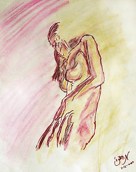 Female Nude Figure Sketch in Watercolor Purple Magenta and Yellow with a warm sunlit background by M Zimmerman
