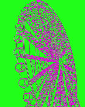 Ramona Johnston - Ferris Wheel Silhouette Green Purple