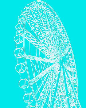 Ramona Johnston - Ferris Wheel Silhouette Turquoise White