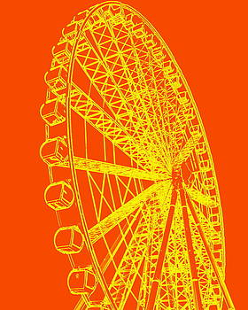 Ramona Johnston - Ferris Wheel Silhouette Yellow Orange