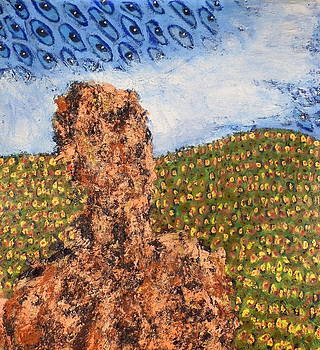 Figure In Landscape With Star Eyes by JC Armbruster