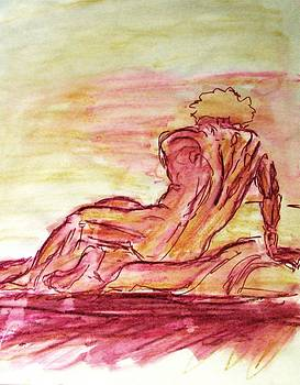 Figure Sketch in Purple and Yellow Arched and Curved Twisted Back Leaning on one Hand in Seated Pose by M Zimmerman