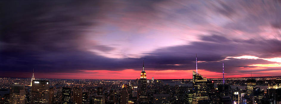 Fire In the Sky - New York City Sunset by Dave Sribnik