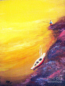 Fisherman and boat by Aung Min Min