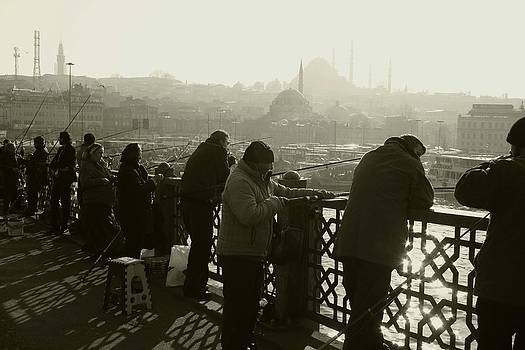 Fishermen on Galata Bridge. by Frederic Vigne