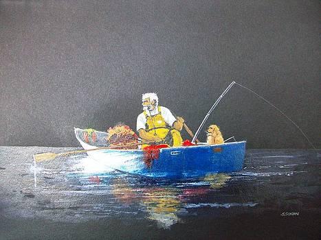 Fishing At Dusk by Samir Sokhn