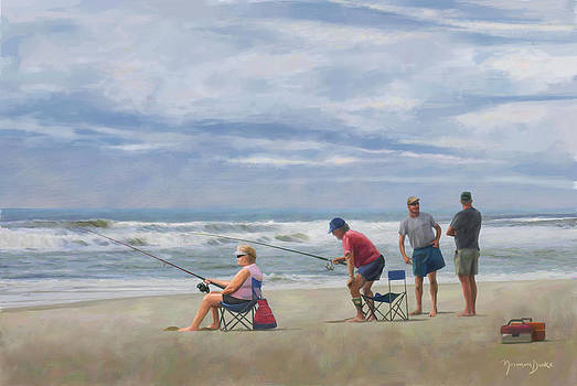 Fishing at the Beach by Norman Drake
