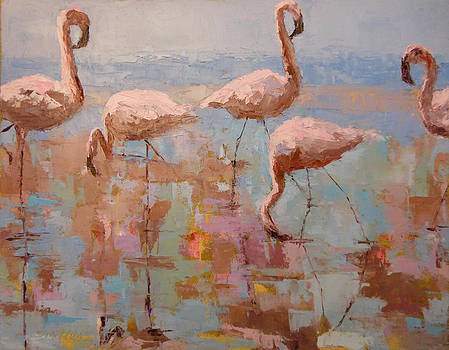 Flamingoes by Sylvia Miller