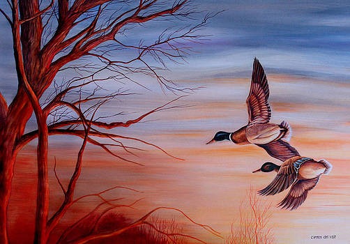 Flight At Sunset by Carmen Del Valle