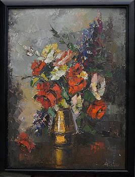 Floral Arrangement in a Brass Vase by Aristov