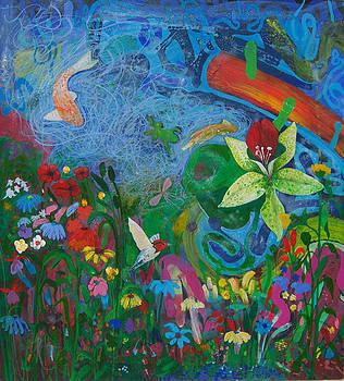 Flower garden pond by Richard Heley