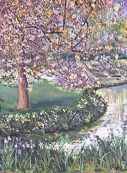 Flowering Tree and Pond by Susan  Brasch