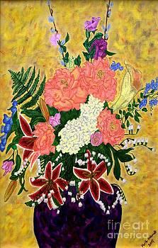 Flowers in a Purple Vase by Brenda Marik-schmidt