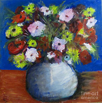Flowers in round blue vase by David Abse