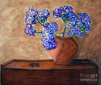 Flowers on Wooden Chest by Linda Marcille