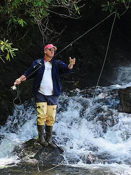 Fly Fishing Below Waterfalls by Kent Sorensen