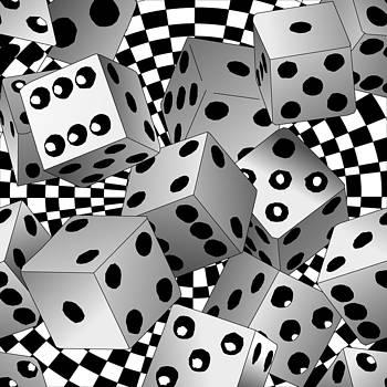 Flying Casino Dice by Casino Artist