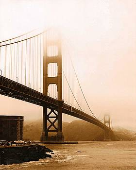 Foggy Golden Gate in Sepia by Rhonda Jackson