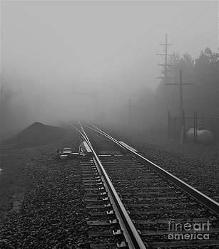 Foggy Train Tracks by James Thomas