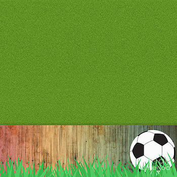 Football soccer on grass and wood background by Veeradech Triwatcharanon