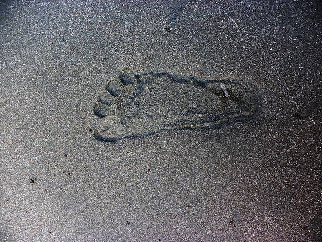 Footprint on sand by Rosvin Des Bouillons