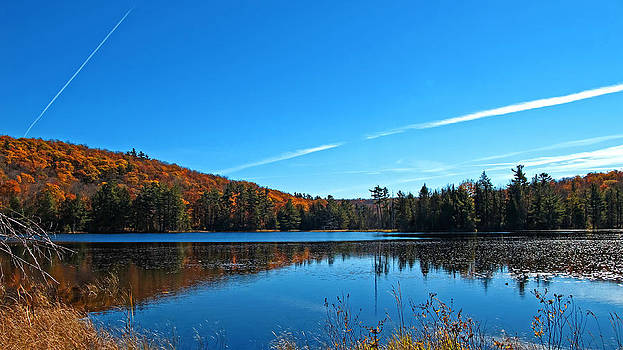 Chantal PhotoPix - Fortune Lake and Swampland w Airplane Contrails - Fall Forestscape Reflections - The Great Outdoors