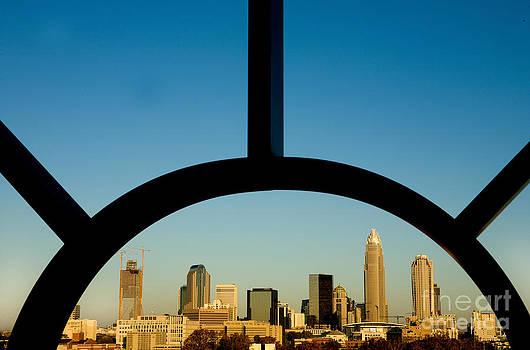 Framed Charlotte skyline by Patrick Schneider