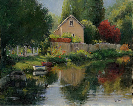French Creekside Scene by Mary Phelps