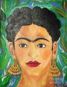 Frida Woman With Earrings by Viva La Vida Galeria Gloria