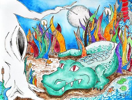 Full Moon Gator by Ryan D Merrill