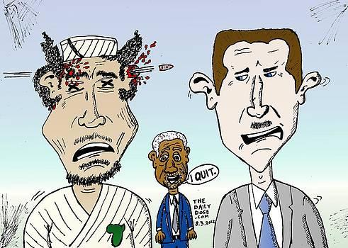 Gadaffy Assad Annan caricature by Yasha Harari