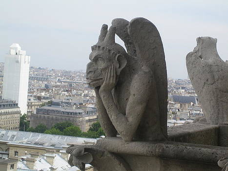 Angela  Rose - Gargoyle Over Looking Paris