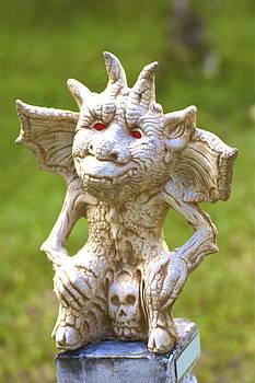Gargoyle sitting on a skul. by Michael Clarke JP
