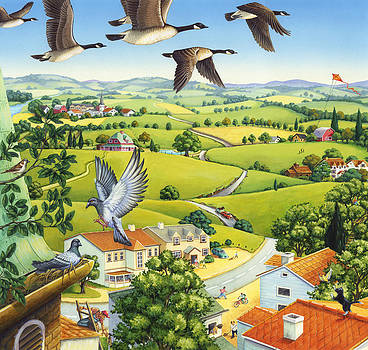 Geese above the town by Anne Wertheim