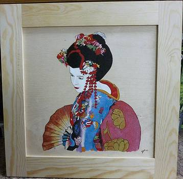 Geisha Floral Framed Pyrographic Original Wood Panel by Pigatopia by Shannon Ivins