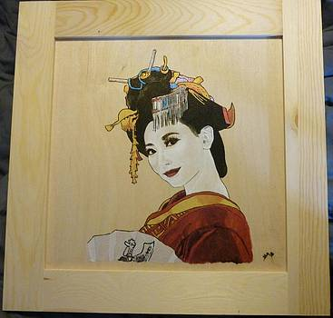 Geisha White Ivory Framed Pyrographic Original Wood Panel by Pigatopia by Shannon Ivins