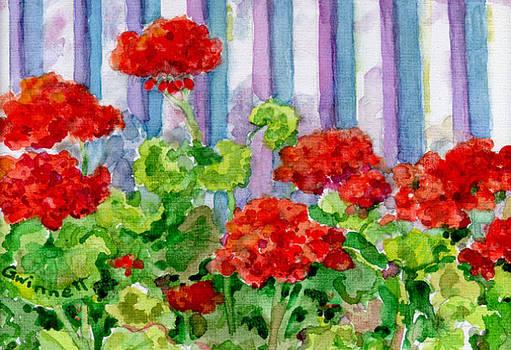 Kathleen  Gwinnett - Geraniums Along The Fence