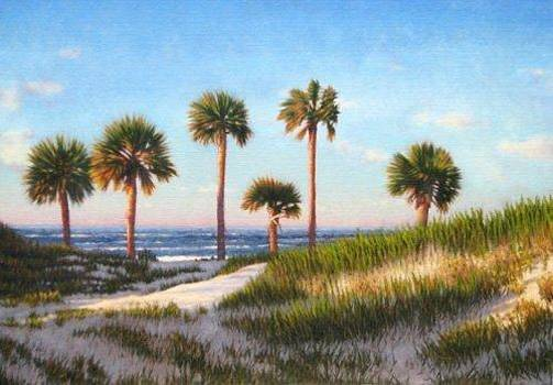 GICLEE Ocean Palms by Michael Story