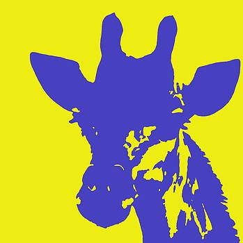 Ramona Johnston - Giraffe Silhouette Yellow Blue
