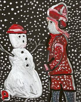 Girl and a snowman by Peter  McPartlin