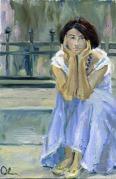 Girl In a Lilac Dress by Lelia Sorokina