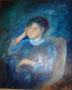Sold/Girl in Blue by Farid  Fakhriddin 32x29 cm