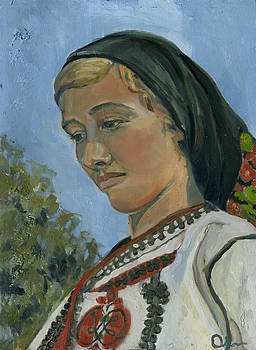 Girl in Ukrainian Costume by Lelia Sorokina