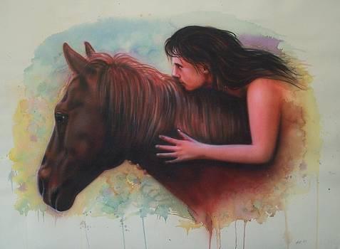 Girl on horse by Amatzia Baruchi