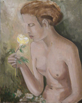 Girl with a Yellow Rose by Miriam Besa